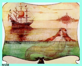 antique mermaid ship fabric block