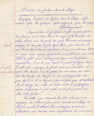 Chier de rédactions de l'école des Mines de Blanzy, librairie Courcol, élève Germaine D., née en 1897, 1911 (collection musée)
