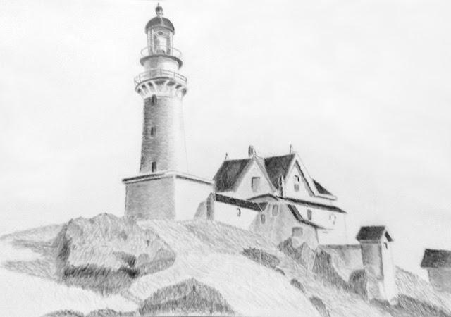 Cours de dessin Ateliers LT37 -  Le Phare à deux lumières d'après Edward Hopper - dessin de Jean-Pierre B - crayon graphite -  tours       loches      St Avertin     bléré      fondettes       montbazon