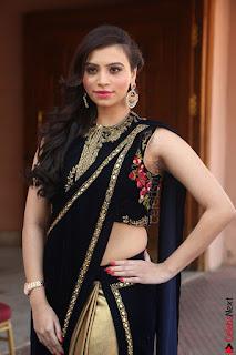 Priyanka Ramana in Beautiful Designer Black Saree At We Craft Elegance Expo Launch 048.JPG