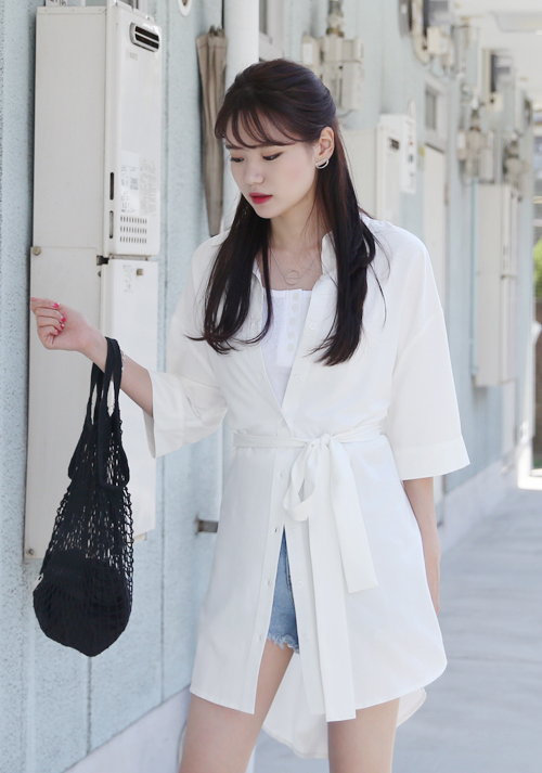 Long Belted Button-Down Shirt