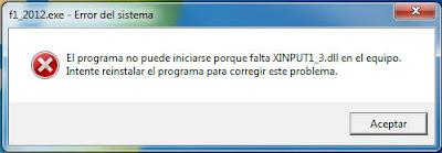 El programa no puede iniciarse porque falta XINPUT1_3.dll