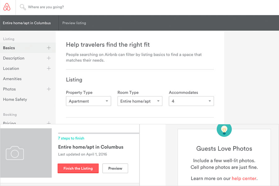 Airbnb website process screenshot