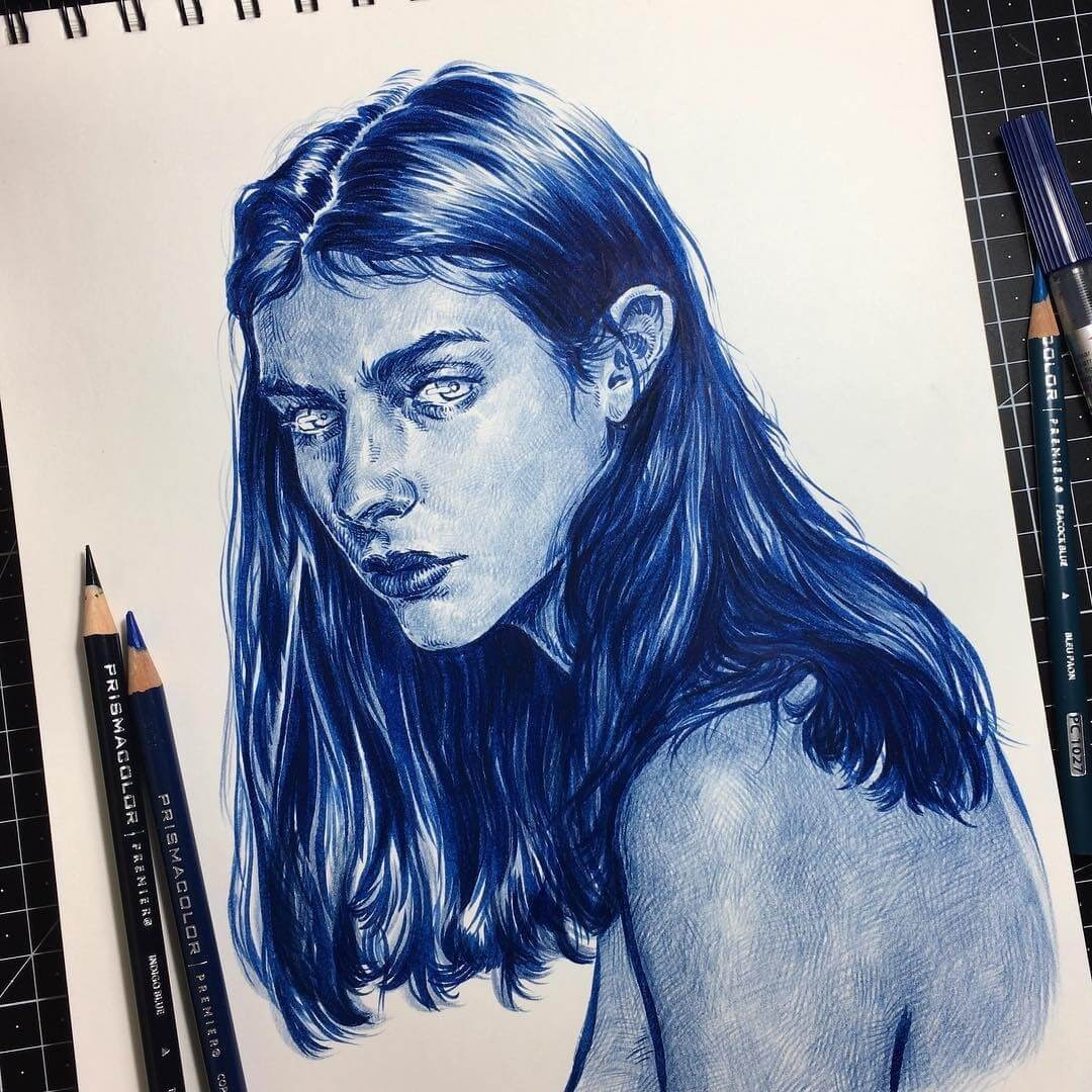 02-Blue-Pencils-Uniquelab-Eclectic-Portraits-Different-Styles-and-Mediums-www-designstack-co