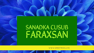 Blue colour flower BG Text in green and yellow combinations Happy New Year in Somali Language