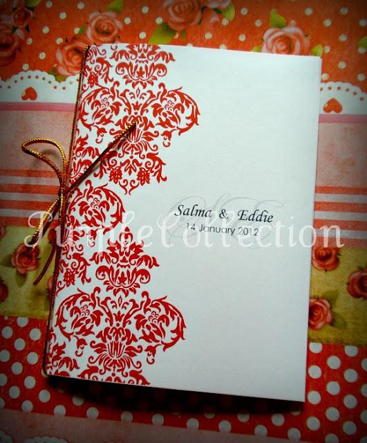 Damask Wedding Invitation Card, wedding invitation cards, malay wedding cards, damask shocking pink card, damask white card