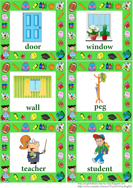 school vocabulary flashcards with words for children