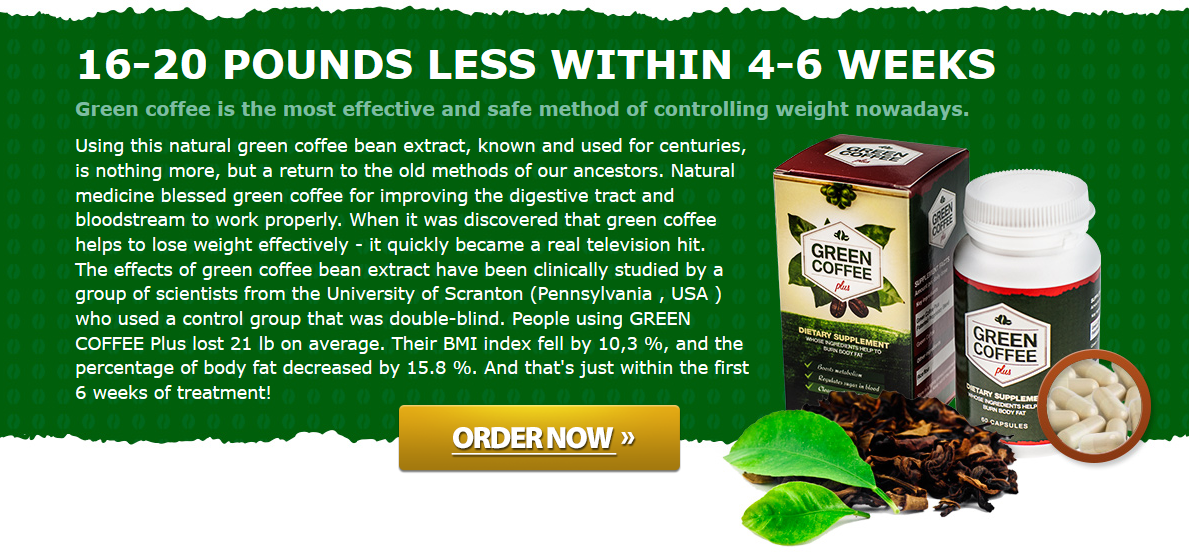 Using this natural green coffee bean extract, known and used for centuries, is nothing more, but a return to the old methods of our ancestors. Natural medicine blessed green coffee for improving the digestive tract and bloodstream to work properly. When it was discovered that green coffee helps to lose weight effectively - it quickly became a real television hit. The effects of green coffee bean extract have been clinically studied by a group of scientists from the University of Scranton (Pennsylvania , USA ) who used a control group that was double-blind. People using GREEN COFFEE Plus lost 21 lb on average. Their BMI index fell by 10,3 %, and the percentage of body fat decreased by 15.8 %. And that's just within the first 6 weeks of treatment!