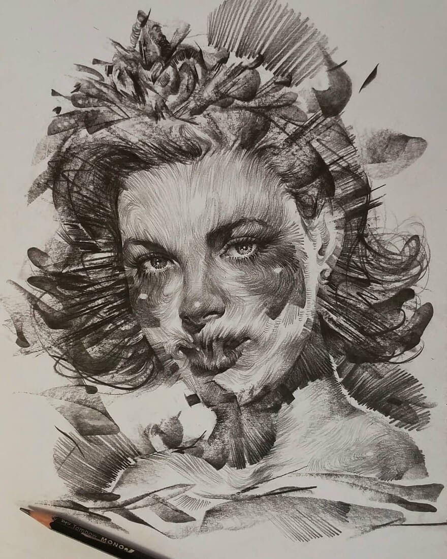 10-Lee-K-Lines-and-Swirls-Pencil-and-Charcoal-Portraits-www-designstack-co