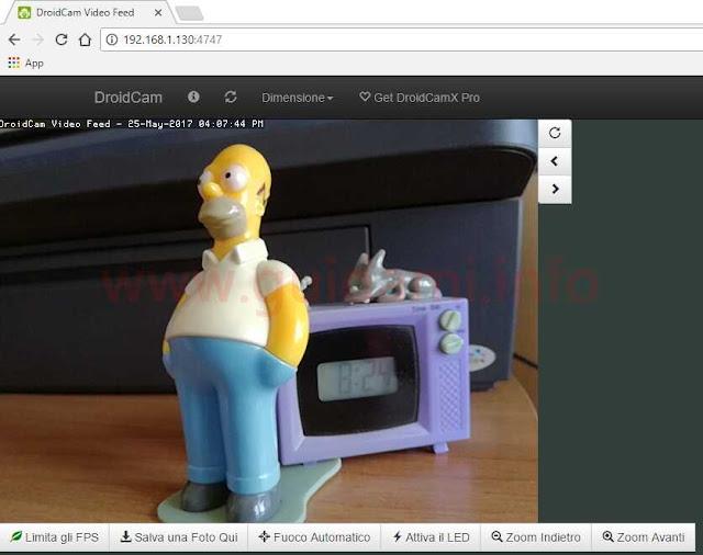 DroidCam IP camera dal browser internet