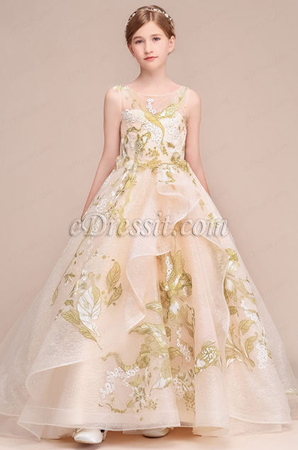 Elegant Long Train Wedding Flower Girl Dress
