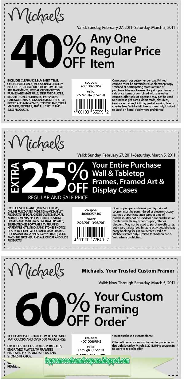 Free Promo Codes and Coupons 2018: Michaels Coupons