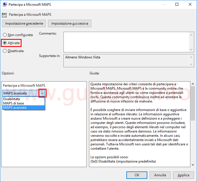 Finestra impostazione Partecipa a Microsoft MAPS