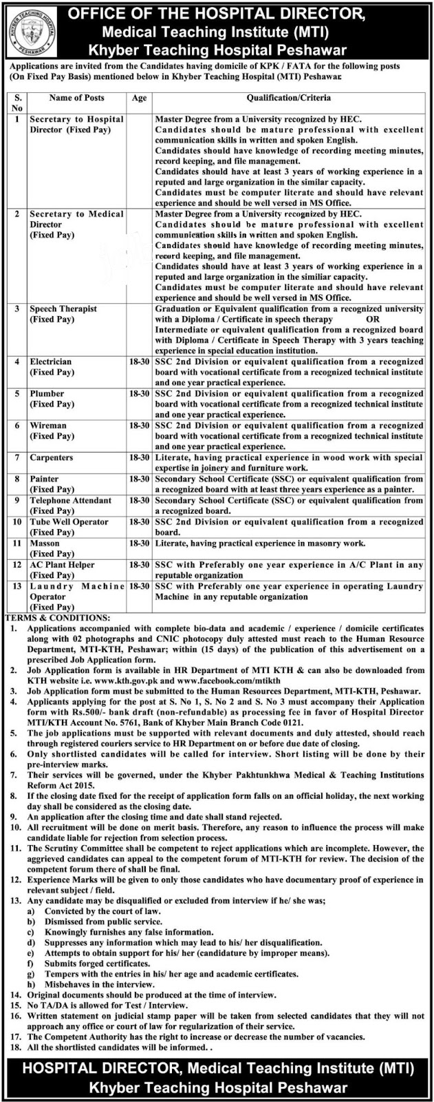 Fixed pay based job In Khyber Teaching Hospital Peshawar(MTI) 25 May 2017