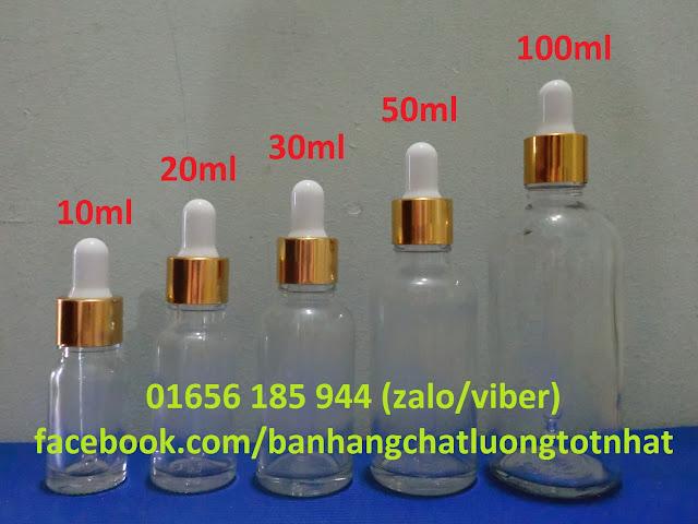 Chai tinh dầu thủy tinh nắp bóp giọt (chai serum) 10ml-100ml