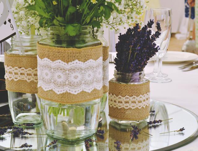 Rustic Mason Jar Lavender Centrepiece