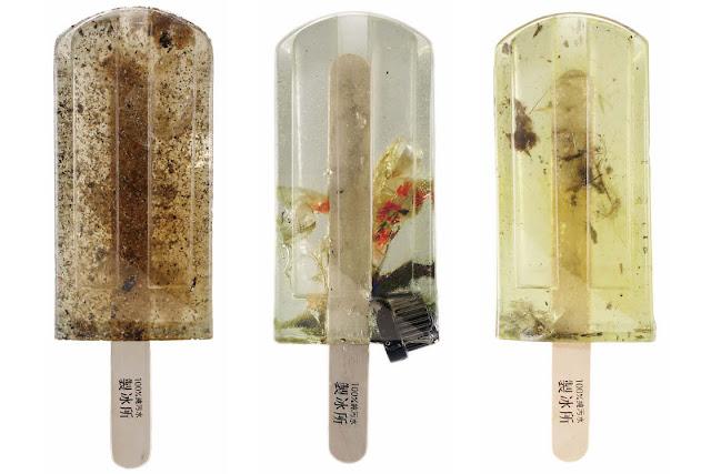 Ghiaccioli di acqua inquinata. dal progetto Polluted Water Popsicles di Hung I-chen, Guo Yi-hui e Cheng Yu-ti