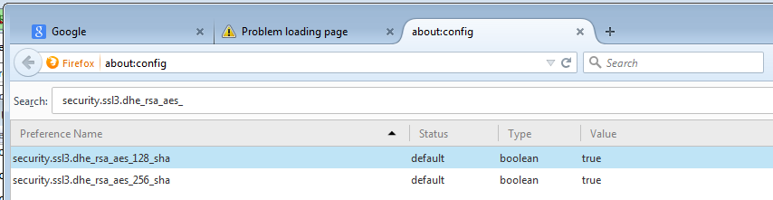 Firefox 39: Secure Connection Failed - An error occurred during a