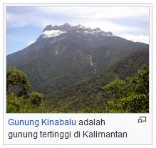 Pulau Kalimantan atau borneo Indonesia wisataarea.com puncak tertinggi kalimantan gunung kinabalu