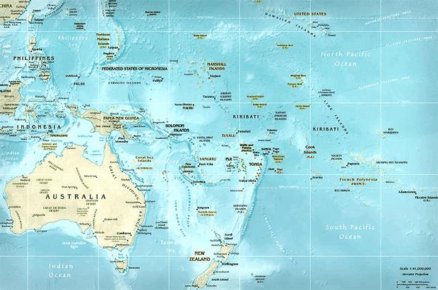 peta letak benua australia-oceania
