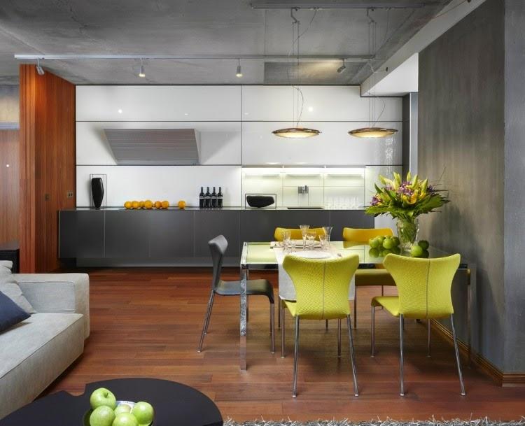 comedores en color amarillo y gris colores en casa