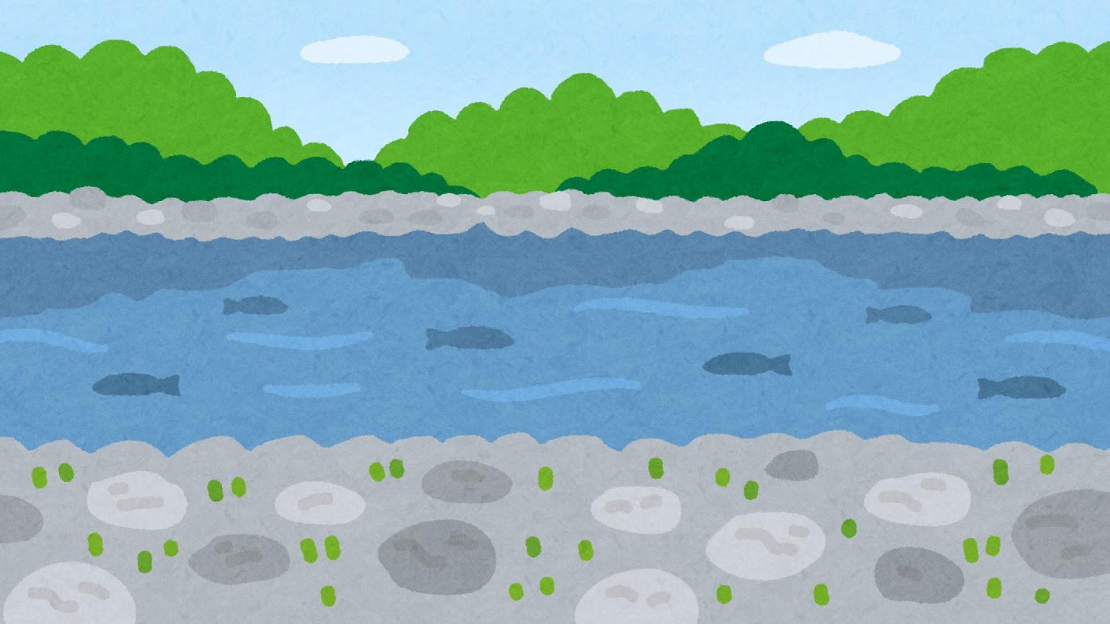 川原のイラスト(背景素材) | かわいいフリー素材集 いらすとや