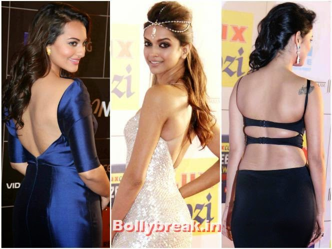 , Bollywood Actresses Backless Gowns Photos on Red Carpet