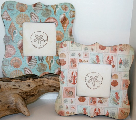 Coastal Decoupage Picture Frames