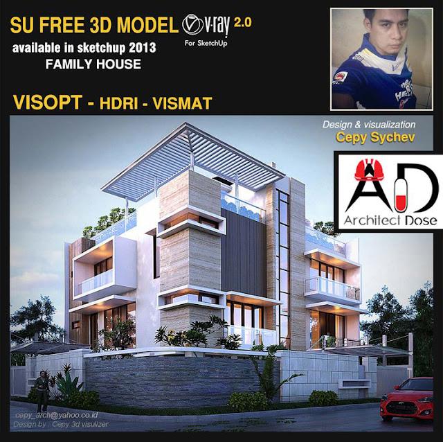 Free Sketchup 3d models - family house - Vray & Vispot