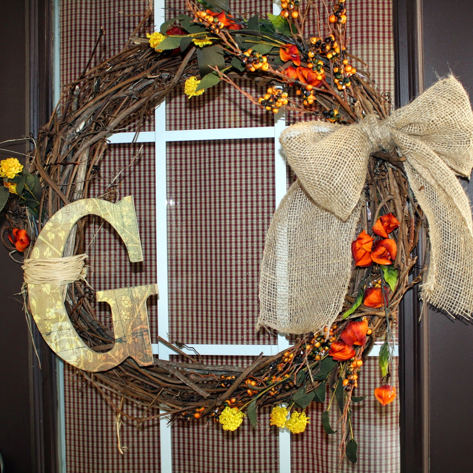 Easy Fall Initial Wreath DIY