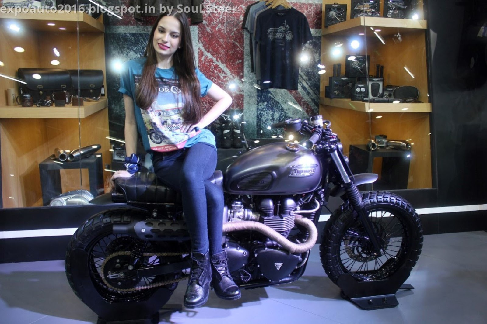 Beautiful Models At Triumph Motorcycles And Yamaha In Auto Expo 2016