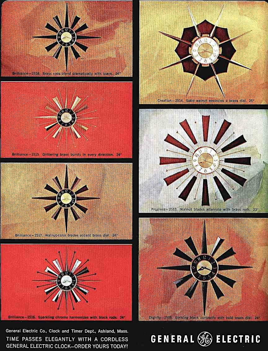 color advertisement for 1964 starburst clocks by General Electric