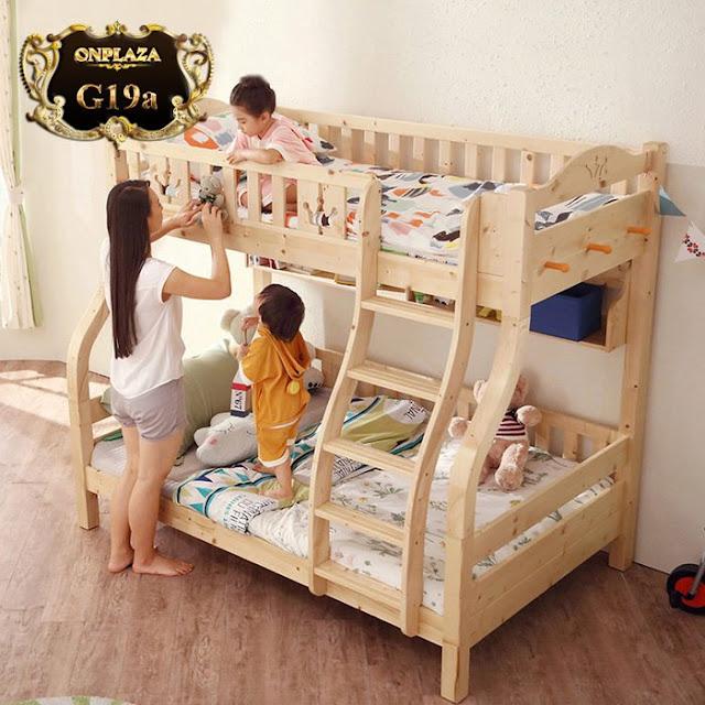 Giường gỗ tầng cho trẻ em kiểu đa năng nhập khẩu