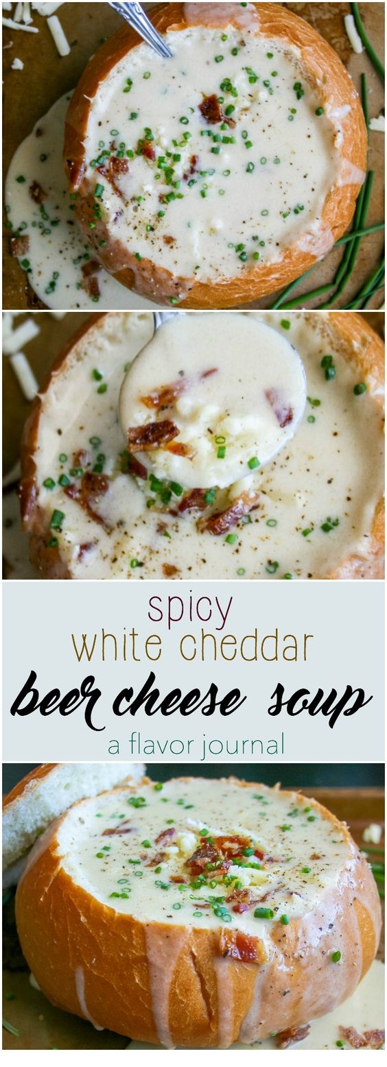 Spicy White Cheddar Beer Cheese Soup
