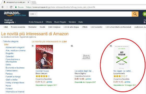 Il libro No Vegan in classifica su Amazon
