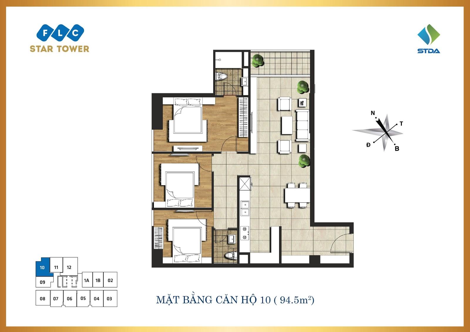 Thiết kế căn hộ số 10 - Chung cư FLC Star Tower