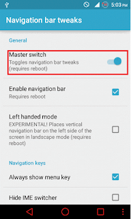 enable navigation bar in Android