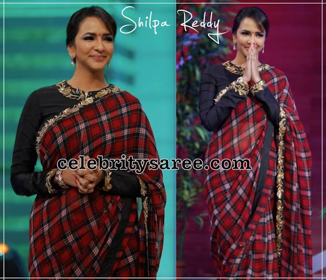 Lakshmi Manchu Stripes Saree by Shilpa Reddy