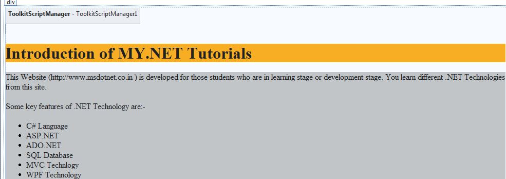 How to implement Accordion Control on ASP NET Web page | MY NET
