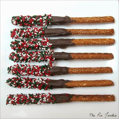 chocolate covered pretzel sticks with sprinkles