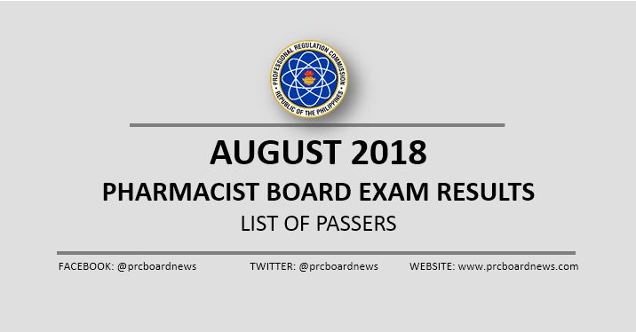 OFFICIAL RESULT: August 2018 Pharmacist board exam list of passers