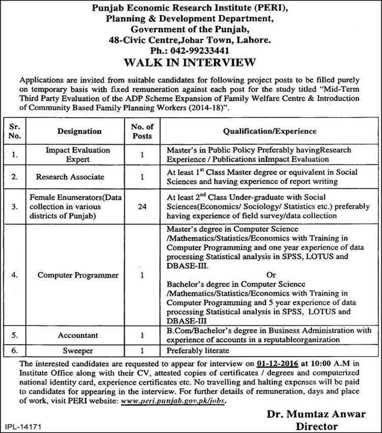 Punjab Economic Research Institute Lahore Jobs