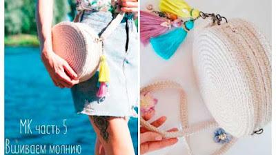 Bolso bombonera tejido en círculo a crochet