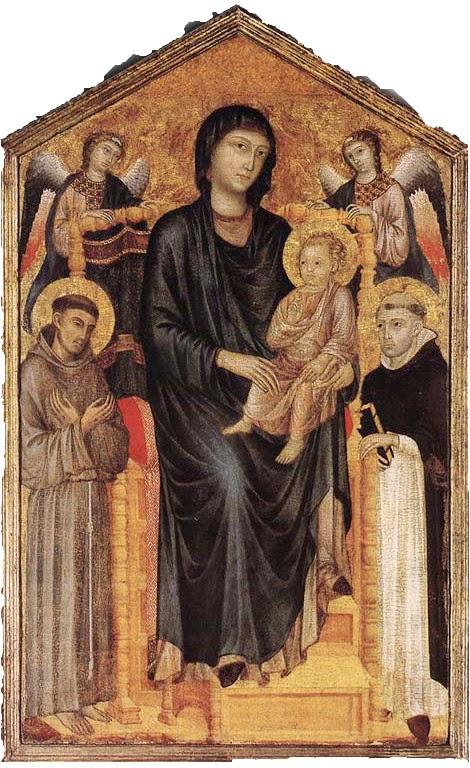 Madonna com a Criança, São Francisco e São Domenico  - Giovanni Cimabue e suas pinturas ~ O criador de mosaicos
