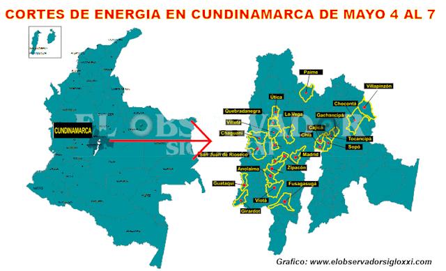De mayo 4 al 7, nuevas suspensiones en el servicio de energía en Cundinamarca
