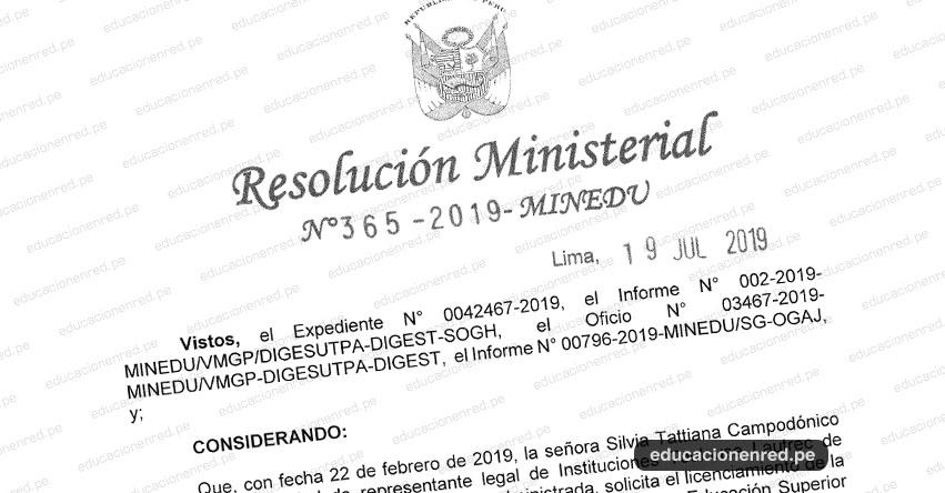 R. M. N° 365-2019-MINEDU - Autorizan a Toulouse Lautrec de Educación Superior S.A.C., para ofertar servicios educativos a través de la Escuela de Educación Superior Tecnológica Privada «Toulouse Lautrec» www.minedu.gob.pe