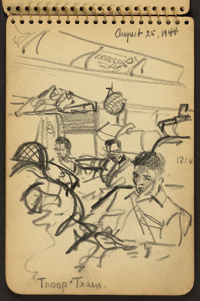 21-Year-Old WWII Soldier's Sketchbooks Show War Through The Eyes Of An Architect - Troop Train. Soldiers Seated On Train Bound For New York Harbor
