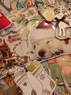 A pile of handmade Christmas tags