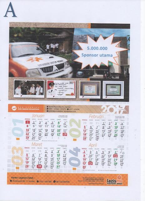 Paket A Penawaran Sponsorship Kalender Lazismu Jember Tahun 2018