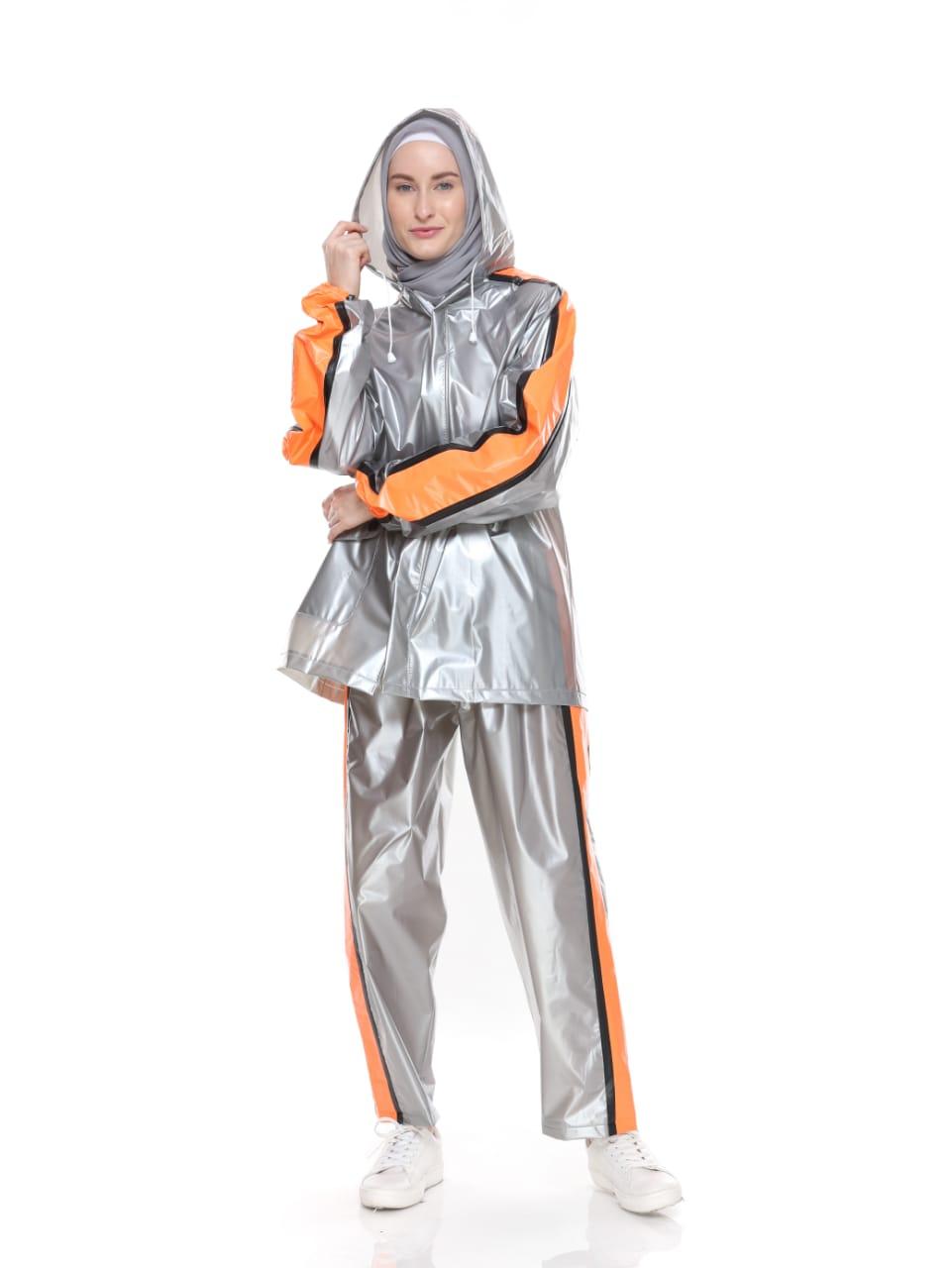 Jas Hujan Mantel Raincoat Setelan Trendy - Silver Strip Orange